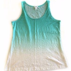 OLD NAVY Tank Sz L Green White Ombre Clear Sequine